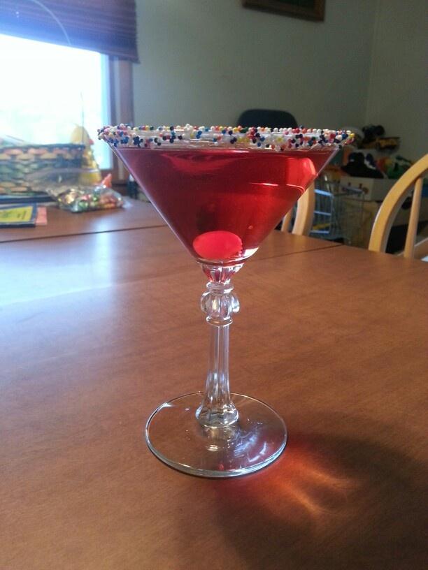 Perfect bday martini. Spread marshmallow cream on edge of martini ...