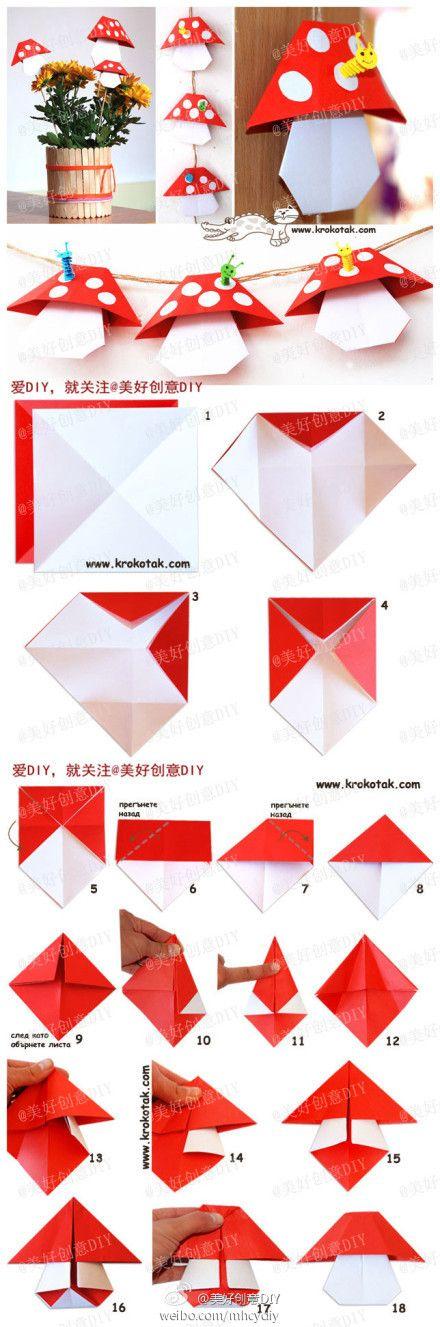 origamimushroom origami kirigami furoshiki pinterest