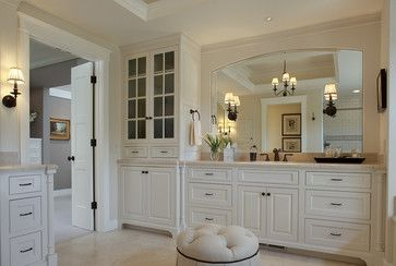 Love the light, bright look but really love the way the mirror is framed out.  Vanity mirror - Julie Williams Design