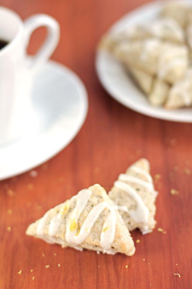 Lemon Rosemary Scones with Vanilla Bean Glaze (veganize idea)