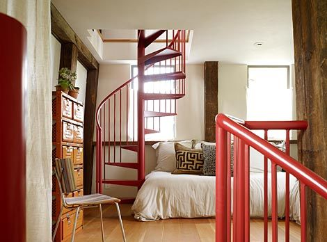 I usually don't love red for the home, but these stairs are amazing!
