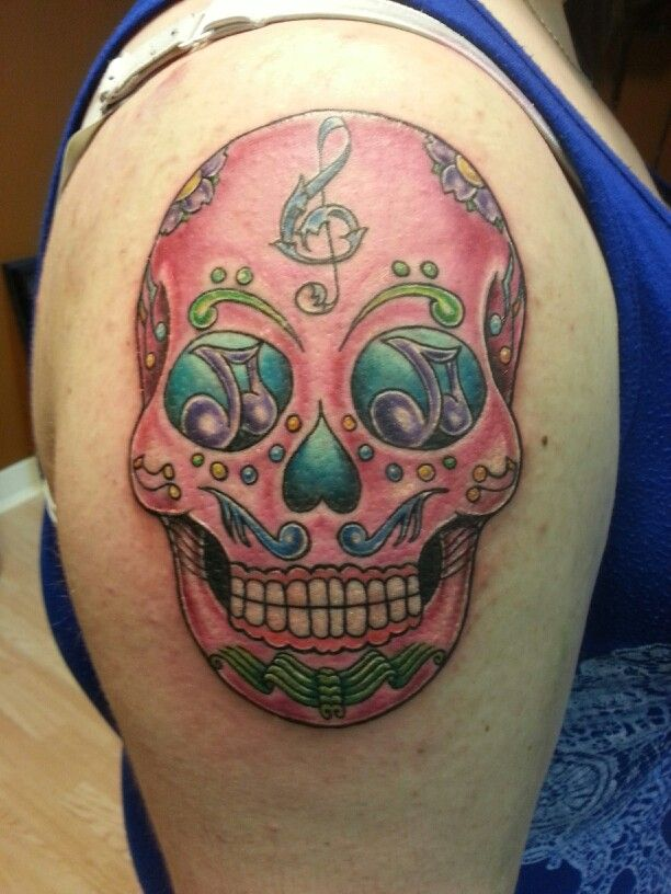 Music sugar skull tattoo by jeremiah klein nickel for Iron lotus tattoo