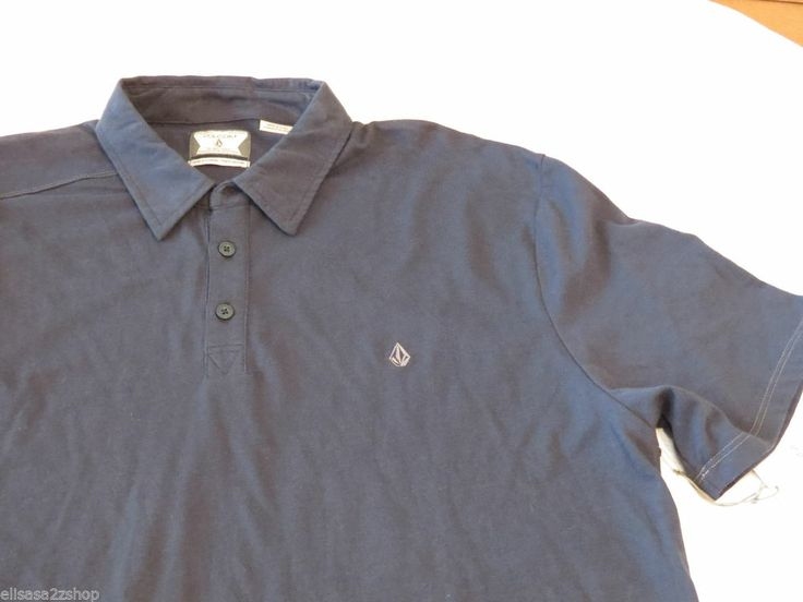 Men 39 s volcom banger solid polo shirt surf skate navy xl for Polo work shirts with company logo
