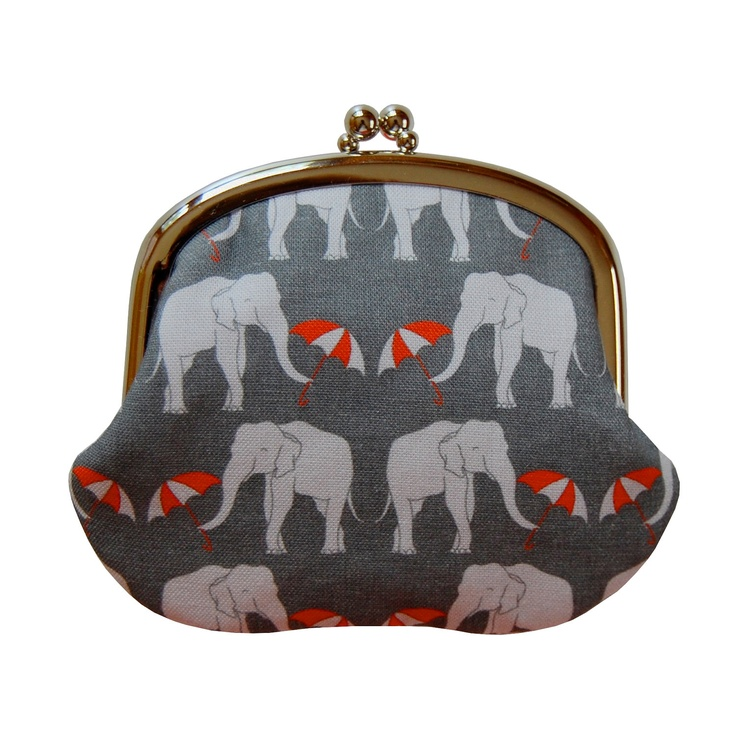 Coin purse with elephants and umbrellas on gray. This etsy shop is lovely! Jennifer Ladd