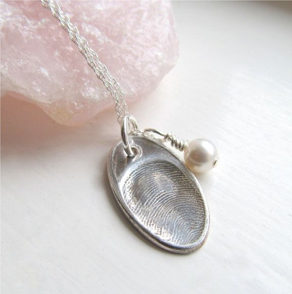 thumbprint necklace silver fingerprint jewelry