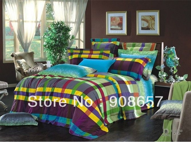 Green purple yellow plaid printed bedding cotton comforter bed in a
