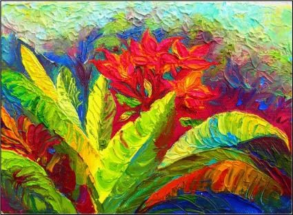 tropical flower of Hawaii  original painting by artist