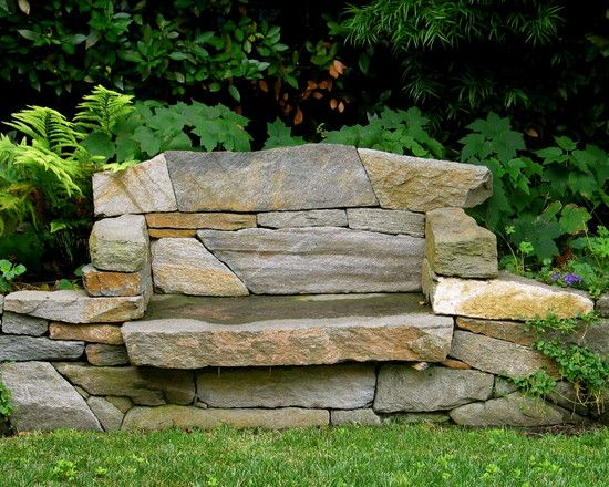 Stone slab bench garden and homestead pinterest Stone garden bench