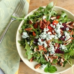 Arugula Salad with Roasted Beets, Blue Cheese, Mint & Pecans