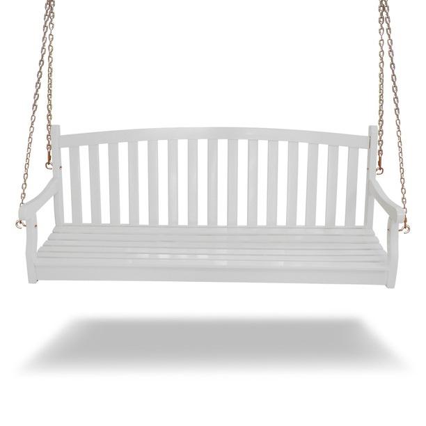 Wood Swing Bench White