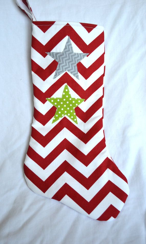 Modern chevron christmas stocking red chevron with gray star and gr