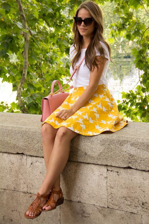 T Shirt Zara, Skirt Anthropologie, Sandals Madewell, Purse Miu Miu, Sunglasses Dior