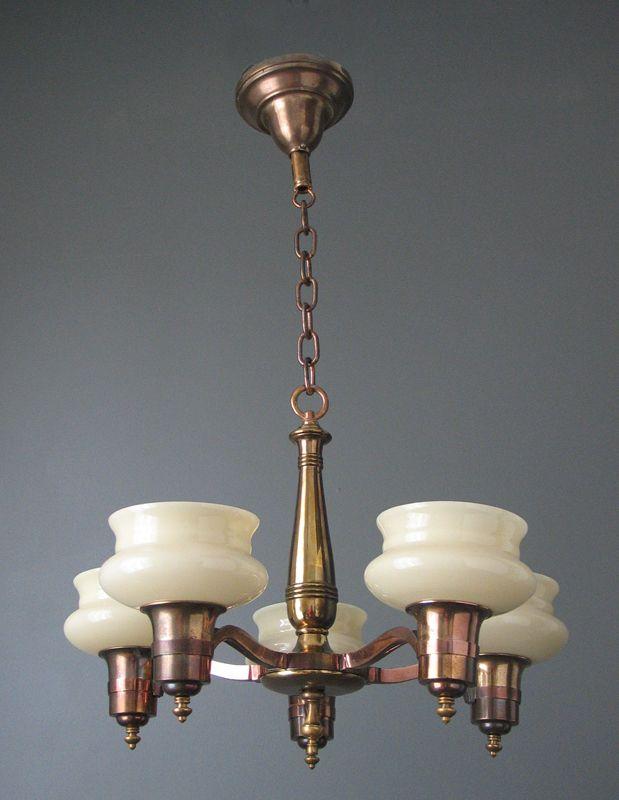 Antique Ceiling Fixture Copper & Brass