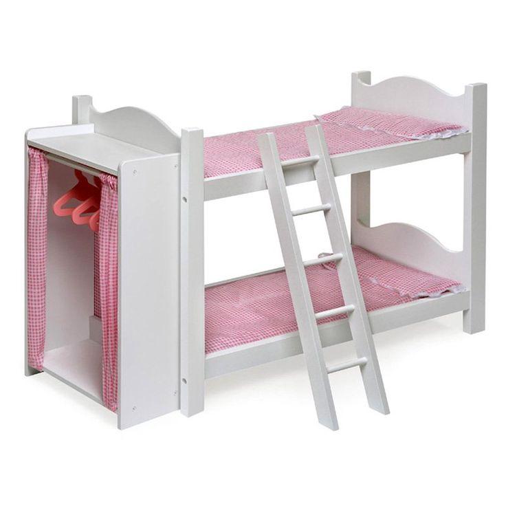 Badger basket pink gingham princess doll bunk bed with for Found furniture