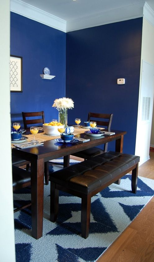 Navy blue dining room our dwelling place pinterest for Dining room navy blue