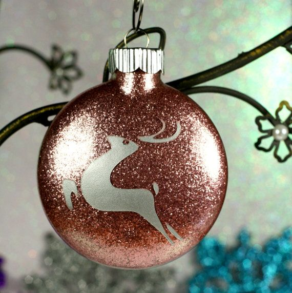 Reindeer Christmas Holiday Glass Ornament with Pink Glitter at flat ...