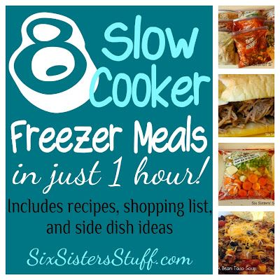 Make 8 Slow Cooker Freezer Meals in only 1 hour! All recipes are delicious and easy to throw together- includes a shopping list and side dish ideas! SixSistersStuff.com #slowcooker #freezermeals