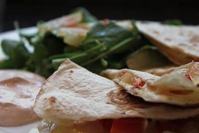 Quesadillas ~ Pear, Rosemary, Goat Cheese & Pepper, Onion & Cheddar