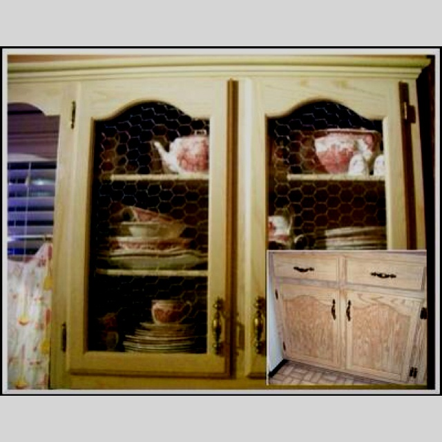Pinterest discover and save creative ideas for Chicken wire kitchen cabinets