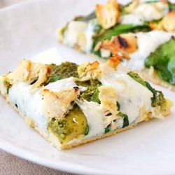 Grilled chicken, mozzarella, spinach and pesto on a crunchy, chewy pizza crust