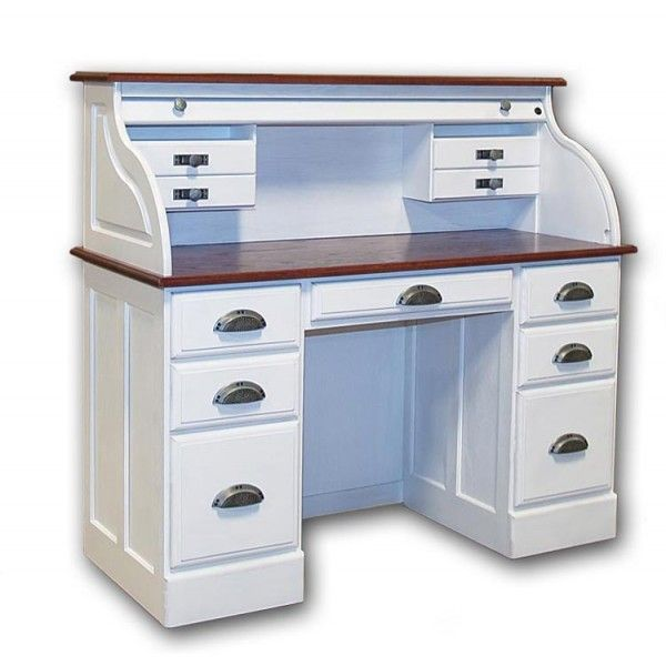 white Roll Top Desk    solid wood 7 drawer white roll top desk
