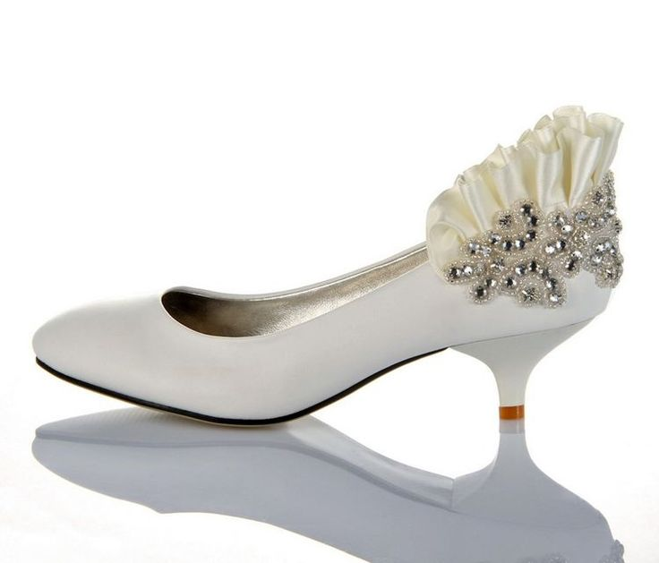 cheap wedding shoes for women leatherette round toe kitten heel white