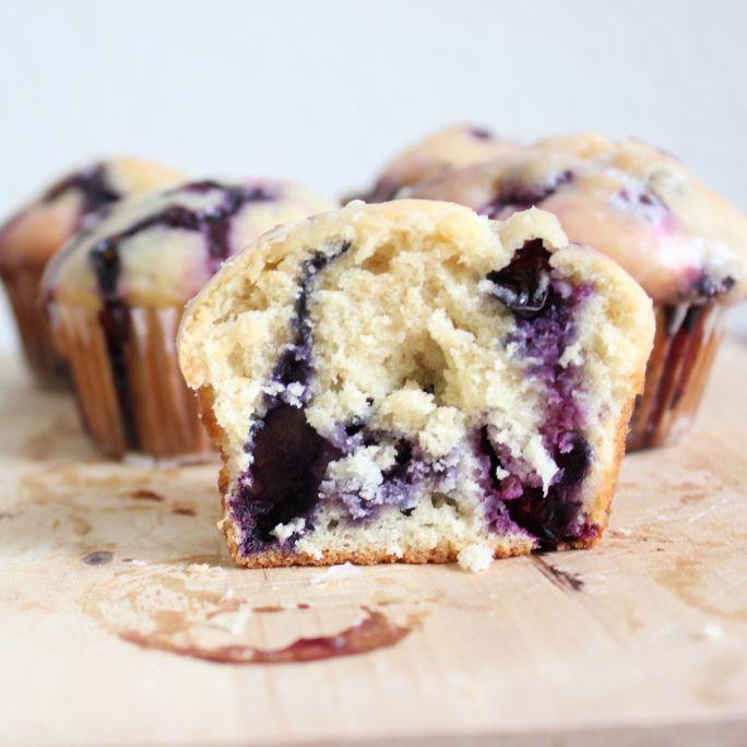 Blueberry Doughnut Muffins with Lemon Glaze