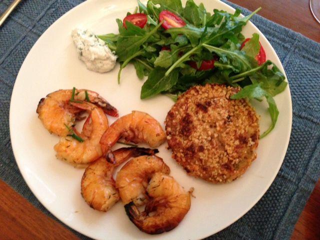 Cedar plank grilled shrimp with crispy cauliflower cakes