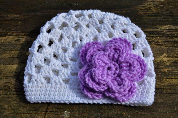 Crochet Stitch Open : Kids Trillium Beanie, Open Stitch Beanie, White Crochet Beanie, Spring ...