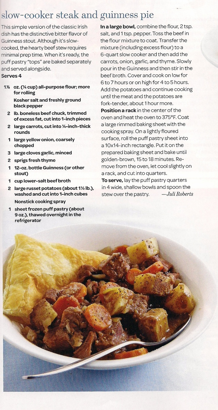Slow Cooker Steak and Guinness Pie from Fine Cooking Magazine