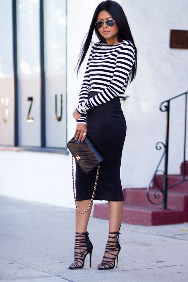 long pencil skirt and simple striped shirt