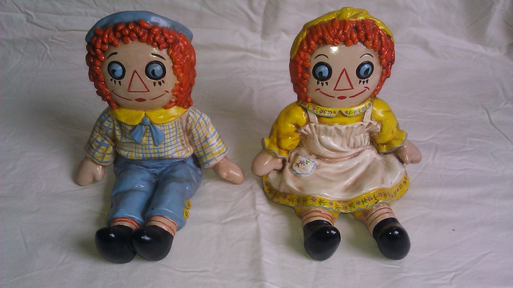Vintage - 1974 Bobbs Merrill - Ceramic Raggedy Ann And Andy Bookends. $34.95, via Etsy.
