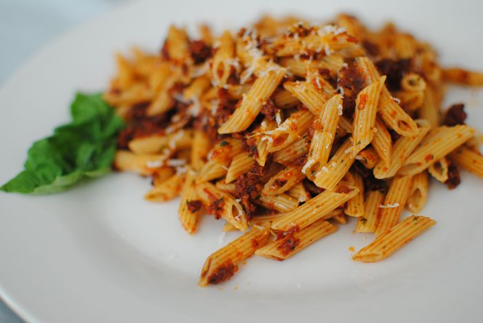 penne rigate with sun-dried tomato pesto | Food | Pinterest