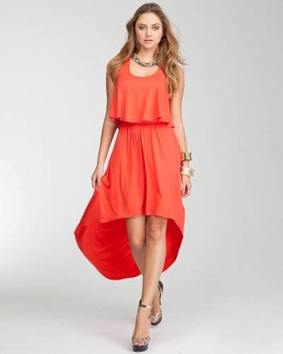 love the color, blouse-y top and hi lo hem. perfect for summer! #tangerinetango
