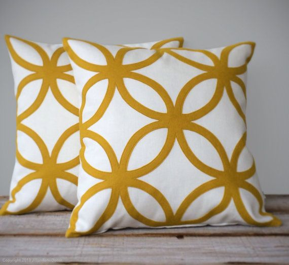 Mustard Yellow Geometric Decorative Pillow Cover Mod