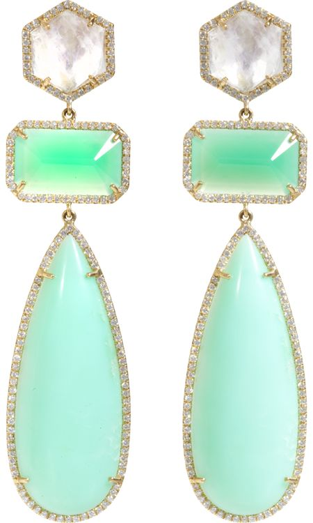 Irene Neuwirth Rainbow Moonstone, Diamond & Chrysoprase Drop Earrings