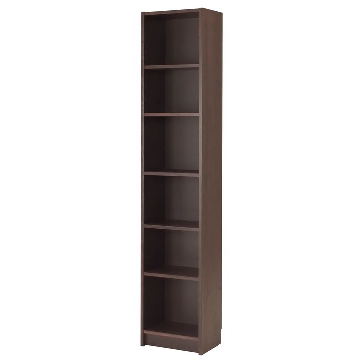 BILLY Bookcase - black-brown, 40x28x202 cm - IKEA #IKEADreamBedroom - I love the idea of bookcases beside my desk instead of side tables!