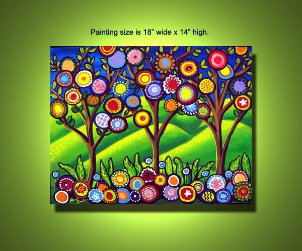 Fun funky flowers trees colorful spring painting canvas for Spring canvas paintings