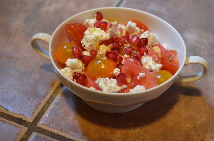 ... Watermelon, Tomato, Pomegranate and Feta Salad (End of Summer Salad