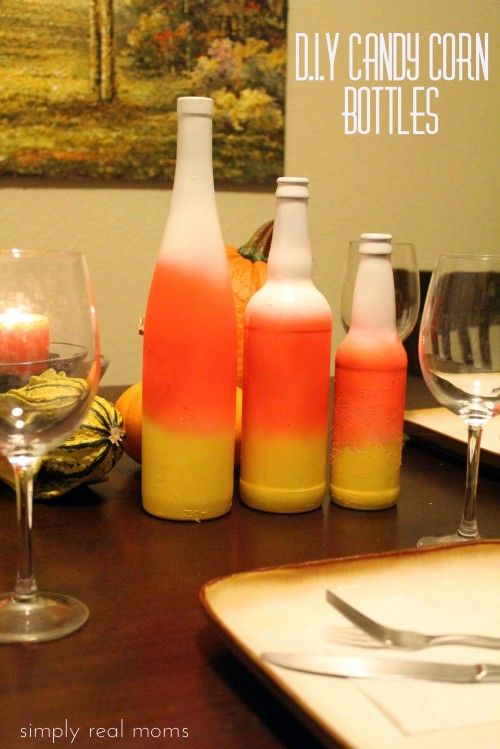 DIY Candy Corn Bottles. Perfect for Fall decorating on a budget!