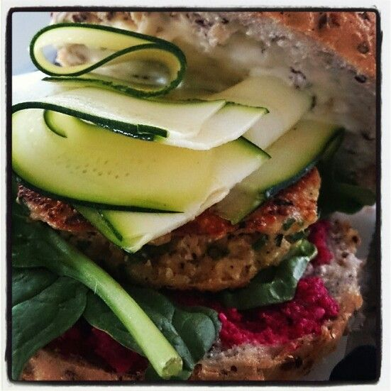 ... recipe tonight...Quinoa burger with raw beetroot and feta relish...Mmm