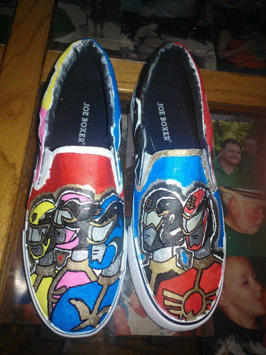 Megaforce Power Rangers hand painted shoes by LoveInspiredGoods, $40