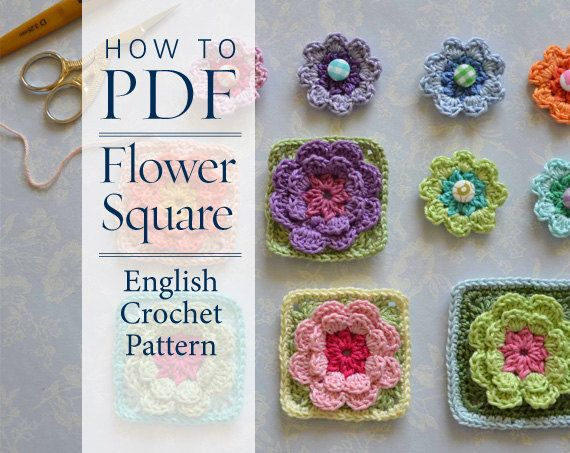 Crochet Patterns In English : diy PDF English Crochet Pattern Flower Square pattern - ready for imm ...