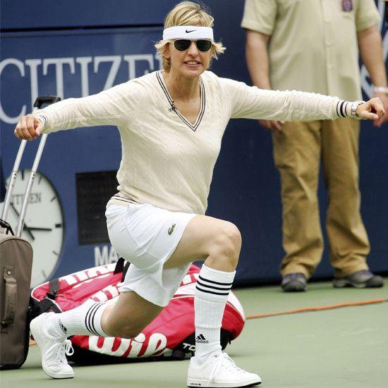 Ellen DeGeneres vegan, tennis player, talk show host. HOTTTT older lady!