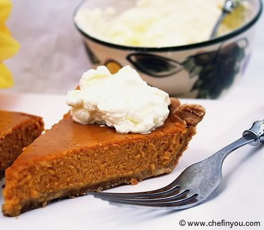 Healthier pumpkin pie with wholegrain crust.