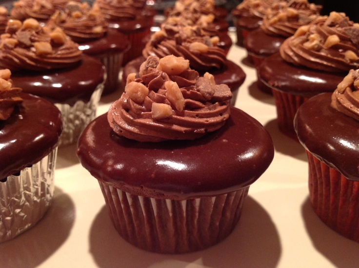 cupcake with peanut butter filling, glazed with chocolate ganache ...