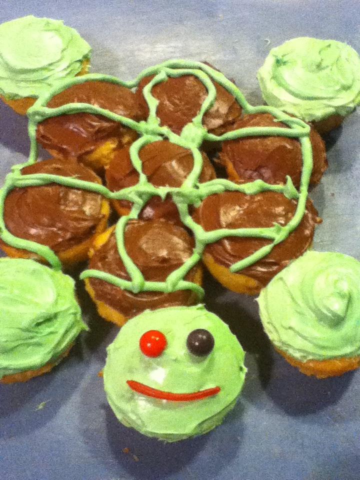 turtle pull-apart cake! I used 12 cupcakes!