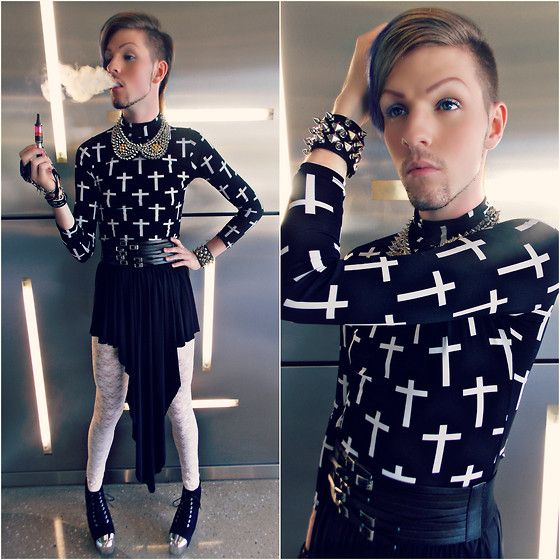Cross pattern shirt diy fully spiked collar spiked brace multi belt