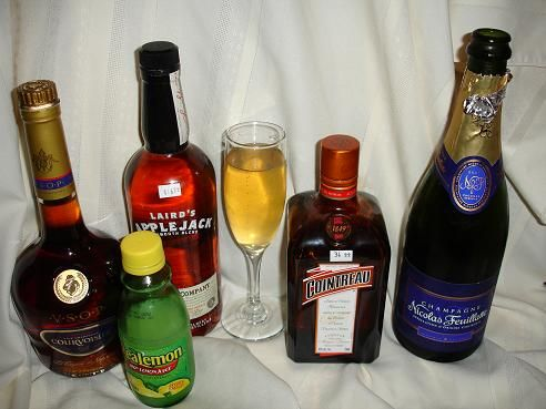 ... shot brandy 1/4 shot triple sec 1/4 shot lemon juice Champagne