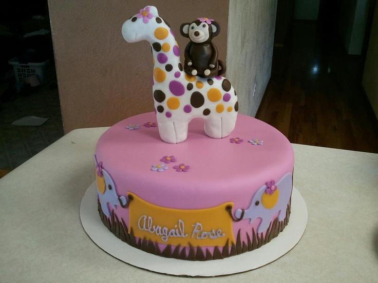 monkey and giraffe baby shower cake baby shower cakes pinterest